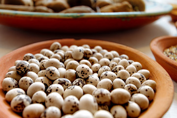 Macro close-up of Peruvian beans in a ceramic dish