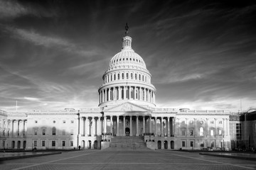 The United States Capitol building in Black and White at sunrise - Stock image