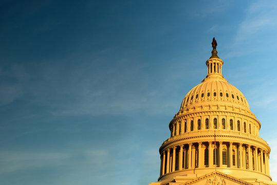 The United States Capitol building at sunrise, Background, Washington DC