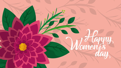 happy womens day card aster flower decoration pink background vector illustration
