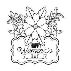 vintage decorative label bunch flowers - happy womens day vector illustration