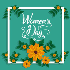 happy womens day card natural decoration flowers border vector illustration
