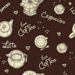 pattern coffee shop graphic design background objects