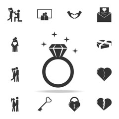 Diamond ring icon. Love or couple element icon. Detailed set of signs and elements of love icons. Premium quality graphic design. One of the collection icons for websites