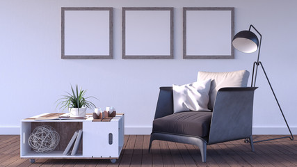 Mock up poster, hipster living room, 3d render 3d illustration