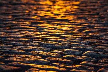 Detailed Cobblestone Walkway at Sunset