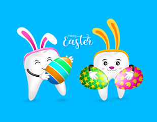 Bunny tooth character holding Easter eggs. Dental Easter, illustration isolated on blue background.