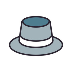 flat line  colored hat over white background vector illustration