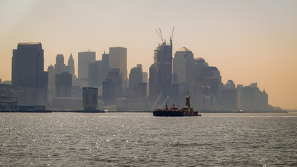 Ship Passing in Front of Lower Manhattan Island