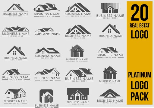 Luxury Real Estate Logo Set, Creative House Logo Collection, Abstract Buildings Logo Set. Vector Illustrator Eps.10