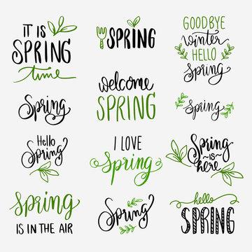 spring lettering green and black set