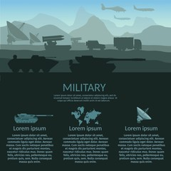 Military army with attack victim force infographic