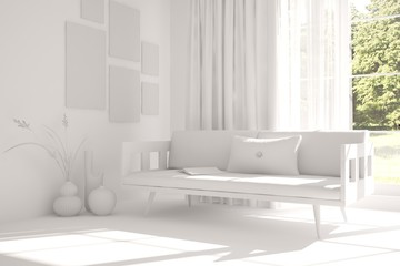 White room with sofa and green landscape in window. Scandinavian interior design. 3D illustration