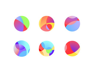 Abstract circular sphere icons with overlapping circles and round shapes. Colorful highlights and shadows of cropped orbs.