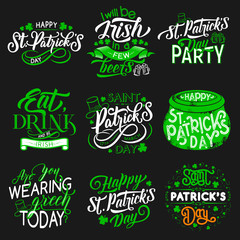 Patrick Day party Irish traditional holiday icons