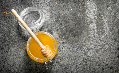 Wall Mural - jar of fresh honey.