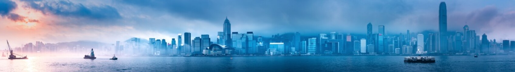 Hong Kong morning cityscape panorama from across Victoria Harbor Wall mural