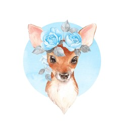 Baby Deer with blue flowers. Hand drawn cute fawn. Watercolor illustration