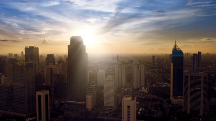 Aerial view of Jakarta Central Business District area at sunrise