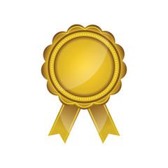 Golden Badge on white background