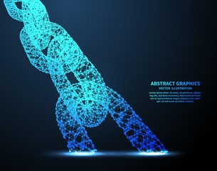 Abstract chain, vector illustration. Network connections with points and lines. Abstract technology background.