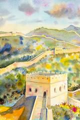 The Great Wall of China at Mutianyu. Watercolor painting