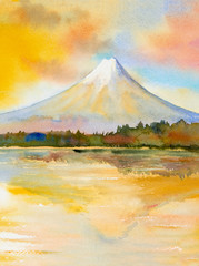 Mount Fuji, lake kawaguchiko, Famous landmark of Japan.