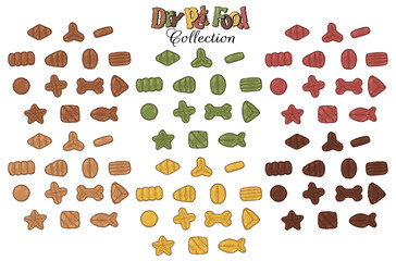 Collection of images on the theme of dry food for cats and dogs. Vector snacks for pets.