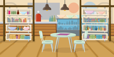 Cozy Empty Cafe Flat Vector Illustration