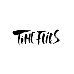 Time flies. Hand drawn dry brush motivational lettering. Ink illustration. Modern calligraphy phrase. Vector illustration.