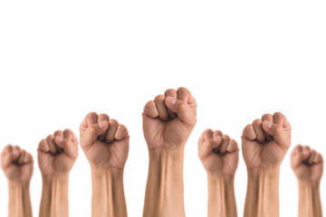 People Fists raised fighting for protest on white background