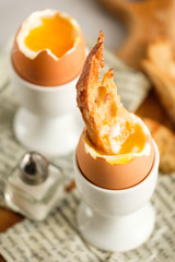 Soft boiled chicken egg for breakfast, with toast.