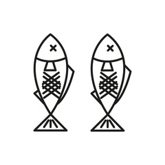 Grilled Fish Adventure Thin Line Icon Symbol Illustration Design