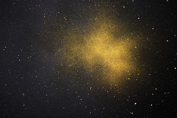 Abstract glittering golden and grey particles. Digital fractal art. 3D rendering.