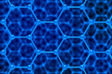 molecule structure on blue background. 3D illustration