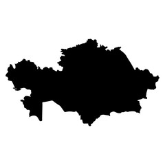 black silhouette country borders map of Kazakhstan on white background of vector illustration