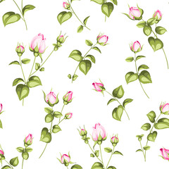 Luxurious rose wallapaper in vintage style. Seamless pattern of blooming roses for floral wallpaper. Pink romantic theme. Vector illustration.