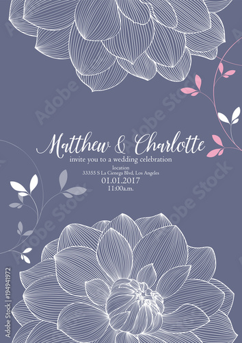 Cute Wedding Invitation With Flowers Of Dahlias