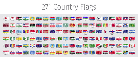 Wave world flags vector with flag of the European Union. 271 country flags with wave effect. World flags vector