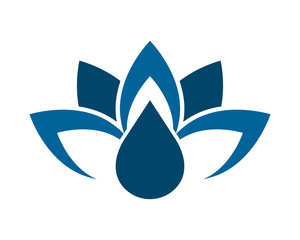blue droplet lotus flower image icon vector