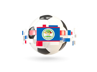 Soccer ball with line of flags. Flag of belize
