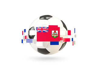 Soccer ball with line of flags. Flag of bermuda