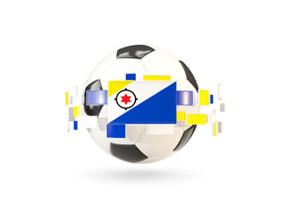 Soccer ball with line of flags. Flag of bonaire