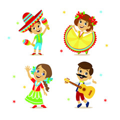 Cinco De Mayo Party Set of character. Happy mexican costume wearing boy and girl. Vector illustration