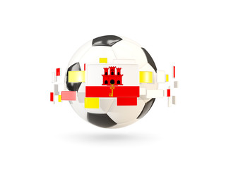 Soccer ball with line of flags. Flag of gibraltar