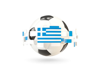 Soccer ball with line of flags. Flag of greece