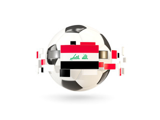 Soccer ball with line of flags. Flag of iraq