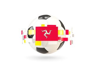 Soccer ball with line of flags. Flag of isle of man