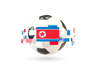 Soccer ball with line of flags. Flag of korea north