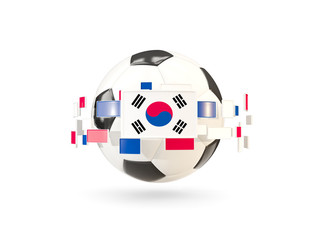 Soccer ball with line of flags. Flag of south korea